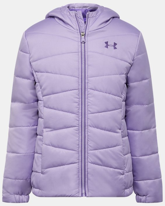 Girls' UA Prime Puffer Jacket, Purple, pdpMainDesktop image number 0